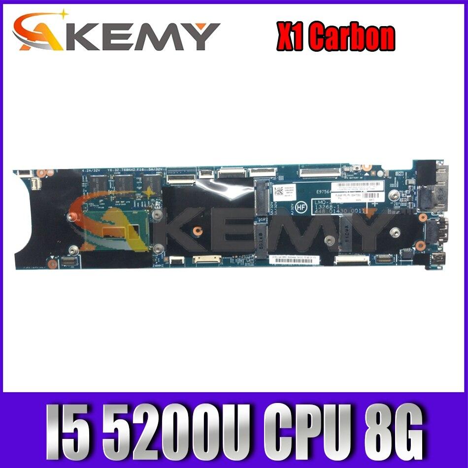 Akemy 13268-1 448.01430.0011 لينوفو ثينك باد X1 كمبيوتر محمول الكربون اللوحة CPU I5 5200U 8GB اختبار العمل FRU 00HT353 00HT341