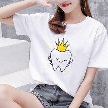 Aesthetic funny cartoon tooth dentist top fashion women's T-shirt 90s Harajuku Kawaii O-neck T-shirt pattern printing Plus