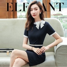 Nouveau été femmes une pièce OL Vogue robe, Interviewer hôte robe formelle, beauté professionnelle travailleur porter.