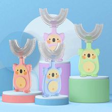 Pattern Baby Kids Food Grade Material Children Silicone Toothbrush Oral Care U-shape Baby Toothbrush