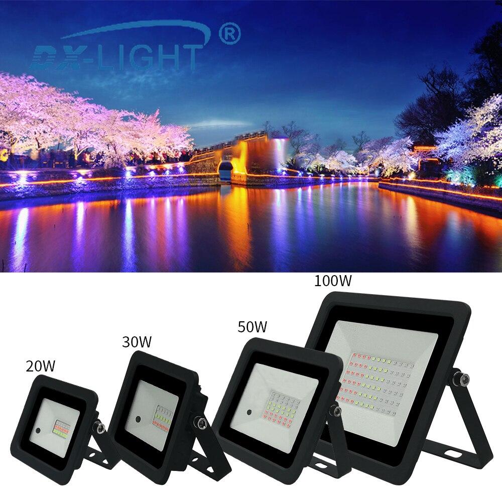 Holofote rgb 2020 v/110v mais recente, 20w/30w/50w/220 w rgb, inundação holofote exterior leve ip68 iluminação alterável ao ar livre
