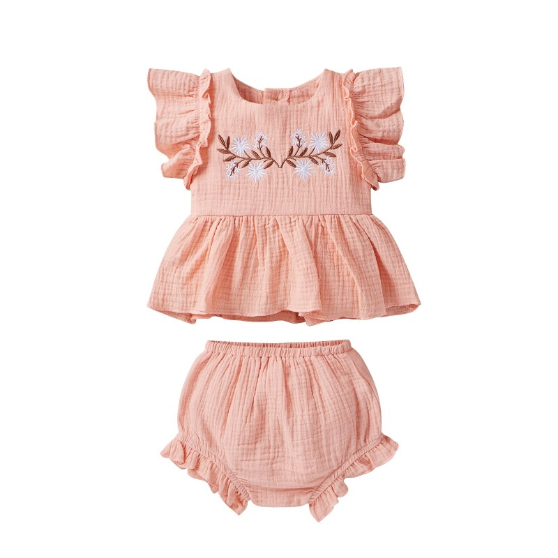 2Pcs Fashion Newborn Baby Girl Clothes Short-Sleeved Ruffle Embroidered Skirt Tops+Triangle Shorts Baby Clothing Outfits 0-12M