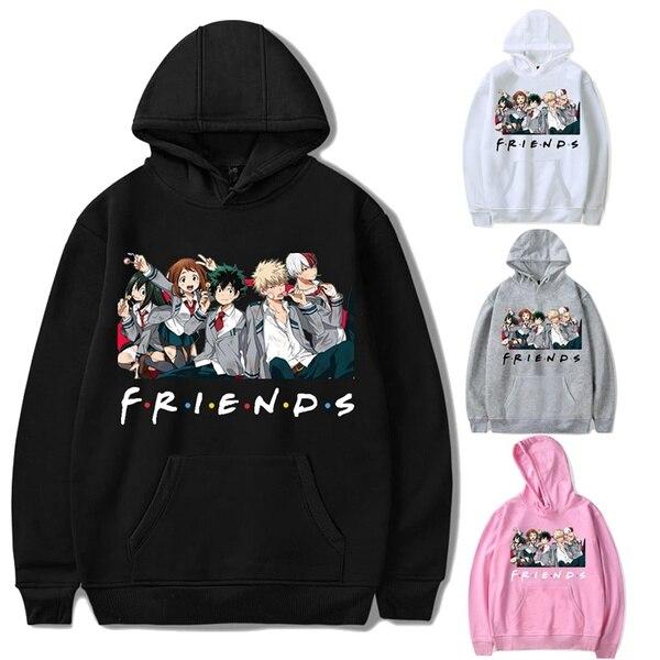 Sudadera con capucha holgada Friends para mujer y hombre My Hero Academia Friends Polerone Bluza Damska ropa coreana