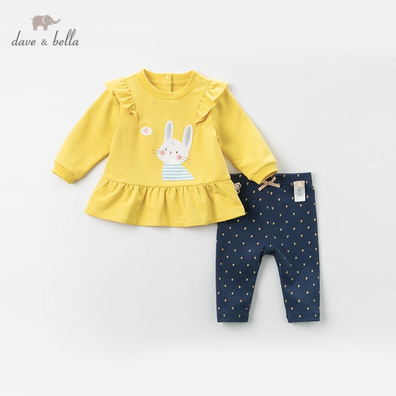 DBM12841 conjuntos de ropa de lazo fruncido de dibujos animados de primavera para niñas, juegos de manga larga para niños 2 uds.