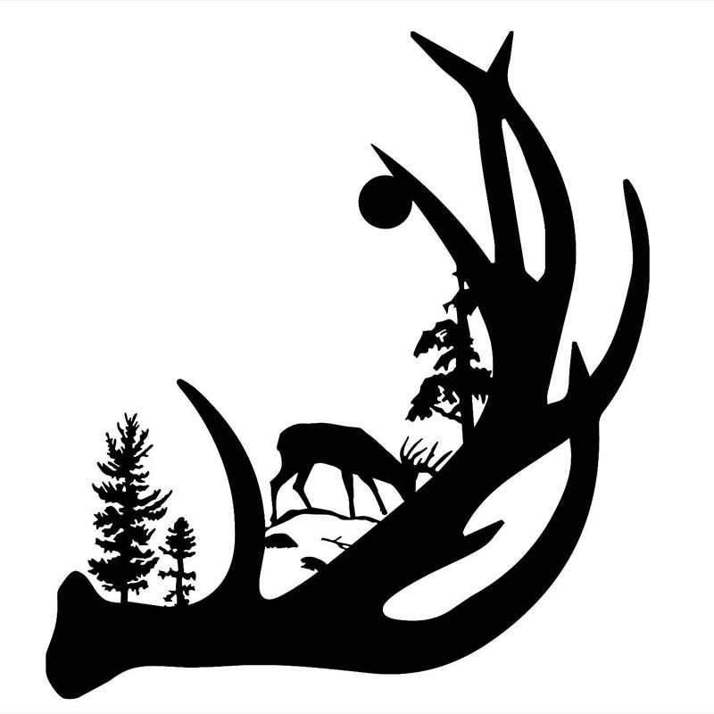 Deer Antler with Buck forest back ground Vinyl Decal Sticker Car Truck Window