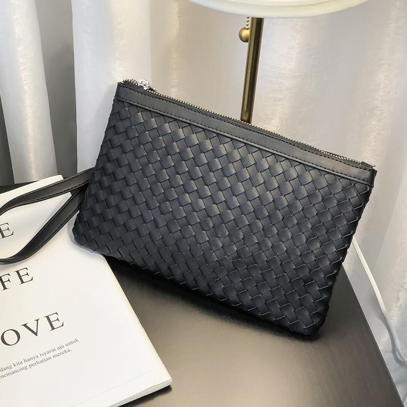 Новинка 2021, мужской клатч из плетеной кожи, ранцевая сумка, Роскошный дизайнерский мужской клатч, сумочка, вместительная сумка на запястье, ...