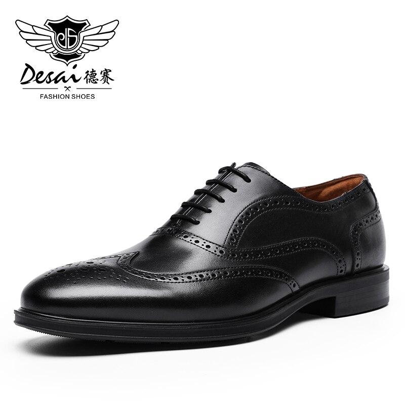 Desai-حذاء جلد البقر الأصلي للرجال ، حذاء أكسفورد بأربطة ، باللونين الأسود والبني ، 2020
