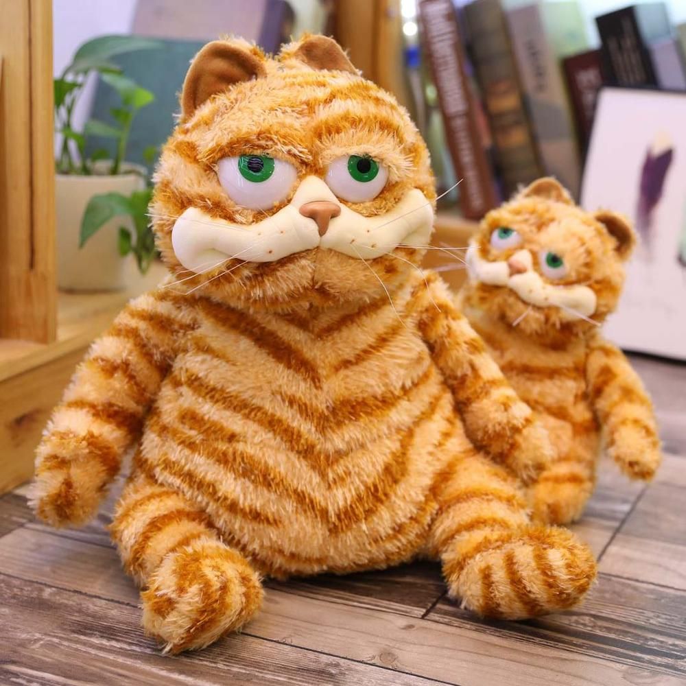 Cute cat ExoticShorthair Plush doll Strip pattern Lazy expression Stuffed toy Realistic animal Fun gifts