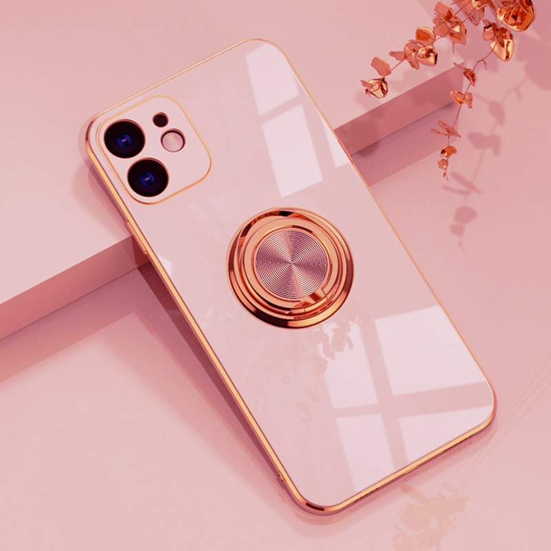 AliExpress - Luxury Plating Silicone Case For iPhone 11 12 Pro Max XS XR X 7 8 Plus iPhone11 Square Shell Bumper Soft Covers With Ring Holder