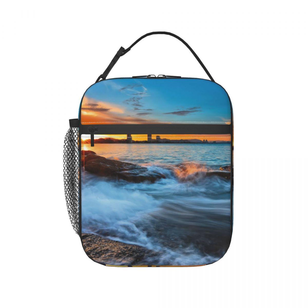 Czas zachodu słońca w hua-hin Beach torba obiadowa dla kobiet mężczyzn duże izolowane pudełko na Lunch z uchwyt na butelkę wody i kieszenie