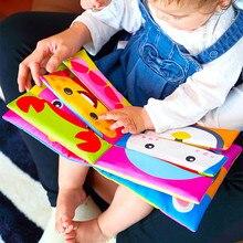 Crianças do bebê misturar e combinar pano 3d animal livro atividade macia aprendizagem precoce educação brinquedo recém-nascido infantil berço cama do bebê brinquedos