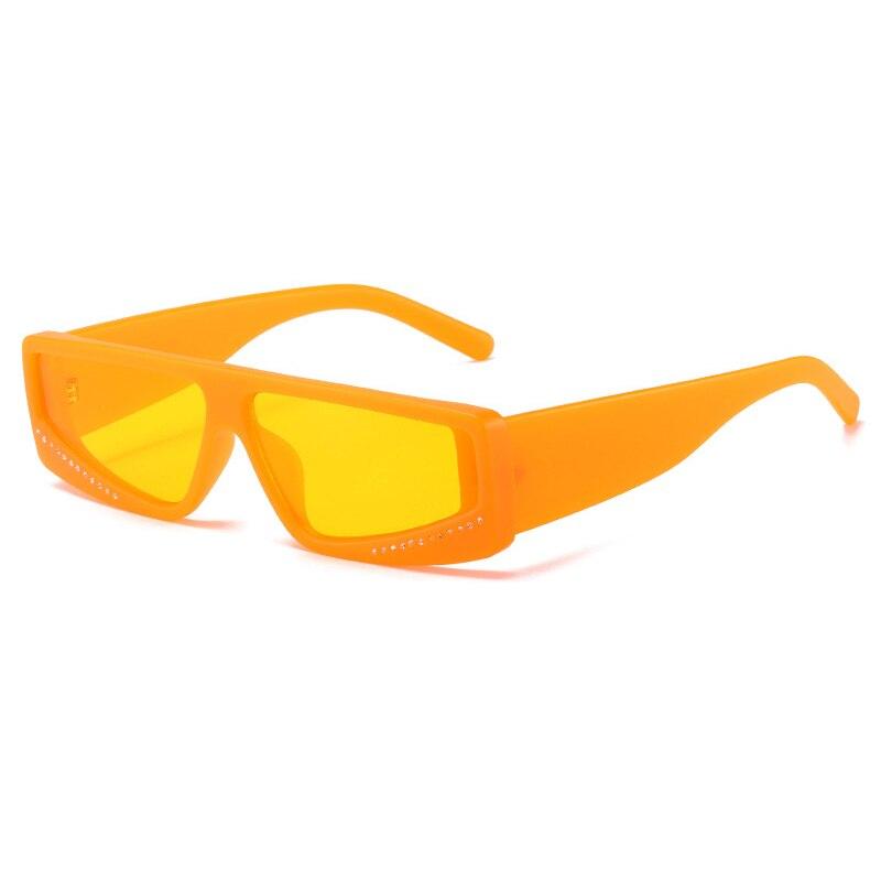 Gafas De sol rectangulares para mujer y hombre, anteojos De sol femeninos De estilo Vintage, a la moda, color naranja y amarillo, con protección UV400