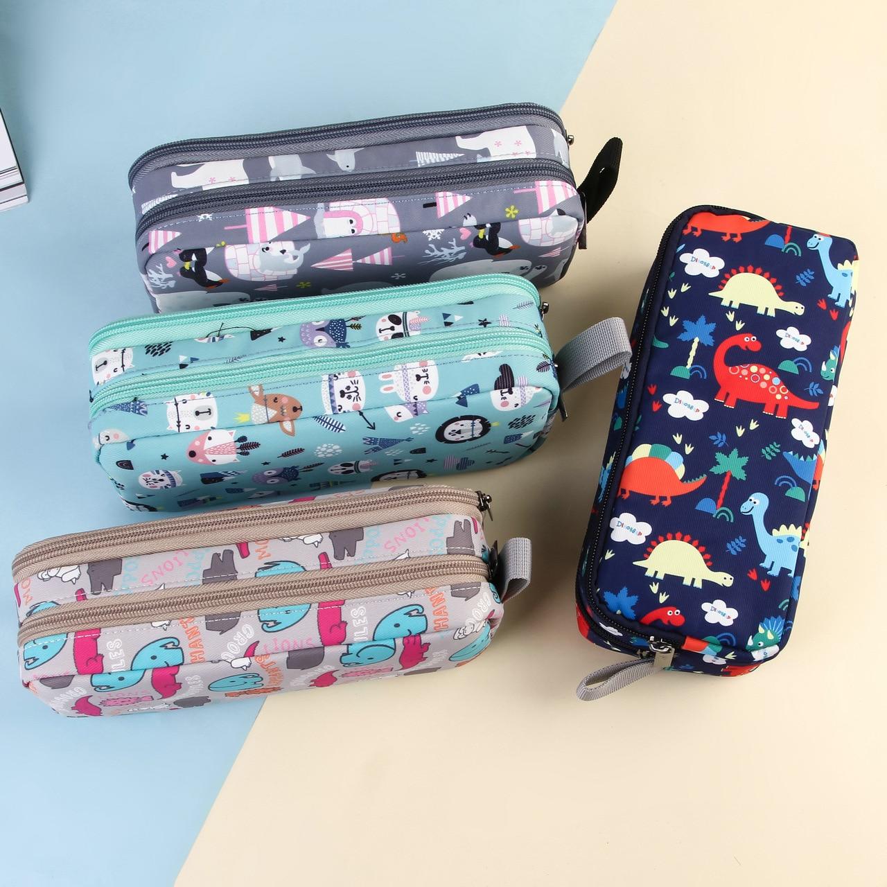 Animal park cartoon pencil case Portable canvas pen case Double layer Big pen bag Student stationery