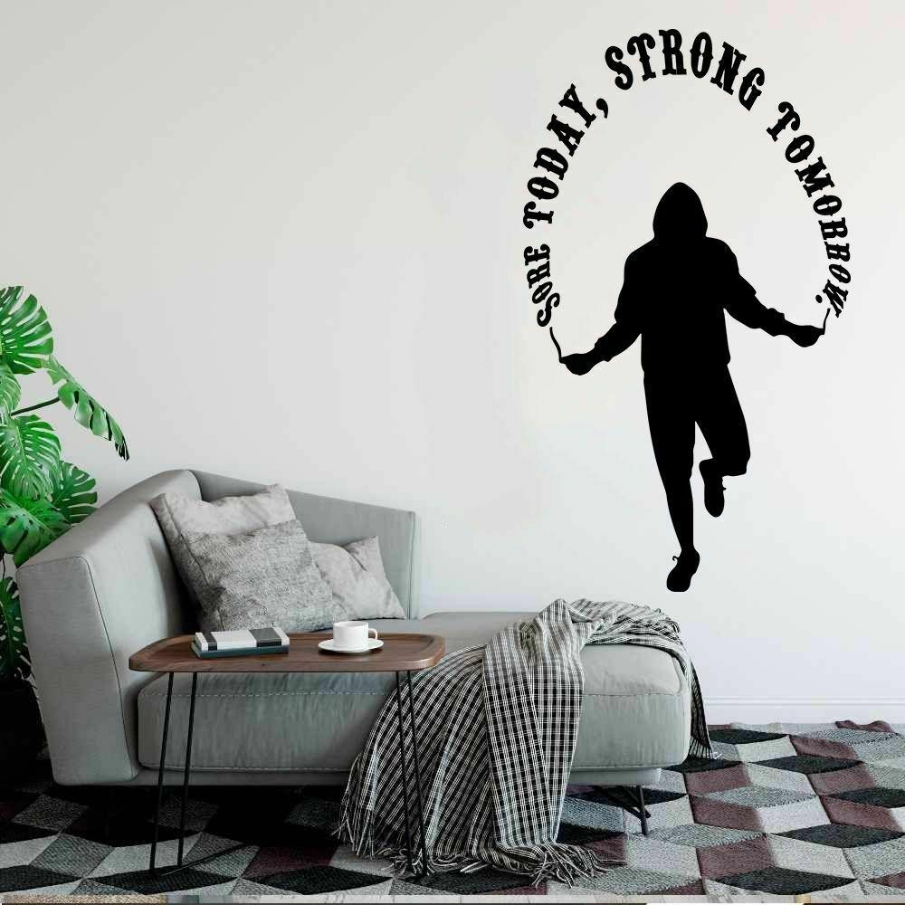 Calcomanía de entrenamiento para pared hoy fuerte mañana cita motivacional Fitness dormitorio gimnasio decoración Interior vinilo ventana pegatinas Q464