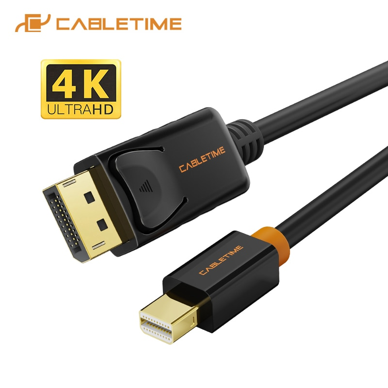 1 8m 6ft golden plated thunderbolt displayport mini display port dp to hdmi male adapter cable for apple macbook mac air pro CABLETIME Mini Display Port to Display Port Cable 4K 60HZ Thunderbolt to DP 4K Cable Mini DisplayPort DP For Macbook C053