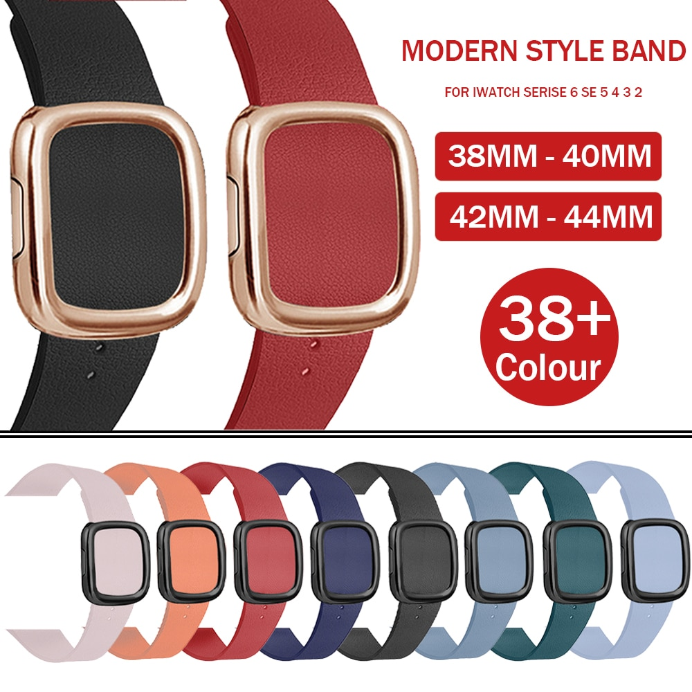 lxsmart genuine leather modern buckle strap for apple watch band 42 mm 38mm watch bracelet watch bands iwatch 1 2 3 series s1 s2 Genuine Leather Loop Strap for Apple Watch 3 2 42/38mm Leather Modern Buckle Band for IWatch Series 6 5 4 40 44mm Bracelet Belt