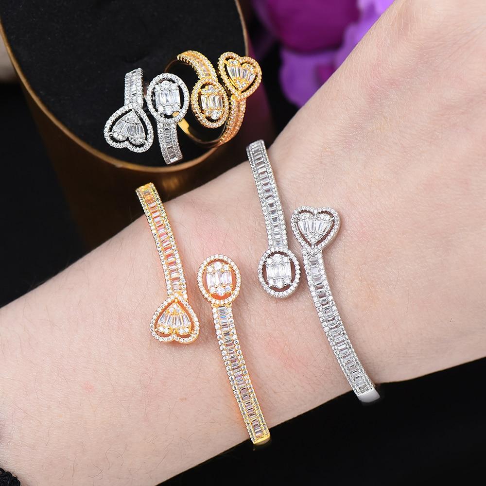 Missvikki na moda bonito coração 2 pçs pulseira anel conjunto para o casamento feminino brinco brilhante zircão cúbico cristal aretes de mujer modernos