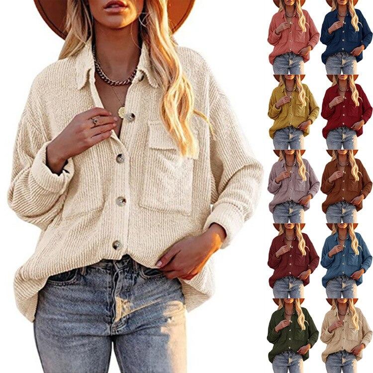 Вельветовые рубашки, женские топы, Однотонные блузки, женские рубашки с длинным рукавом на весну и осень, женские рубашки, свободная винтажн...