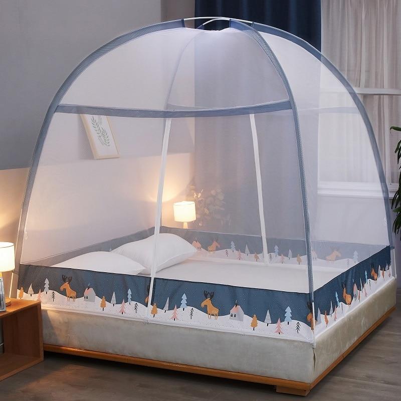 Single/Twin/Queen Foldable Simple Bedroom Mosquito Net Bed Zipper Mosquito Net Double Door Opening Bedroom Decor Home Textile