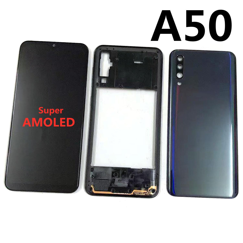 شاشة 6.4 'سوبر أموليد لسامسونج غالاكسي A50 2019 A505F A505DS LCD شاشة تعمل باللمس محول الأرقام + الإسكان الإطار الأوسط الغطاء الخلفي