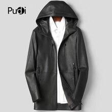 Pudi MT931 새로운 패션 남성 자켓과 코트 짧은 후드 정품 염소 양피 가죽 자켓 진짜 가죽 outwear