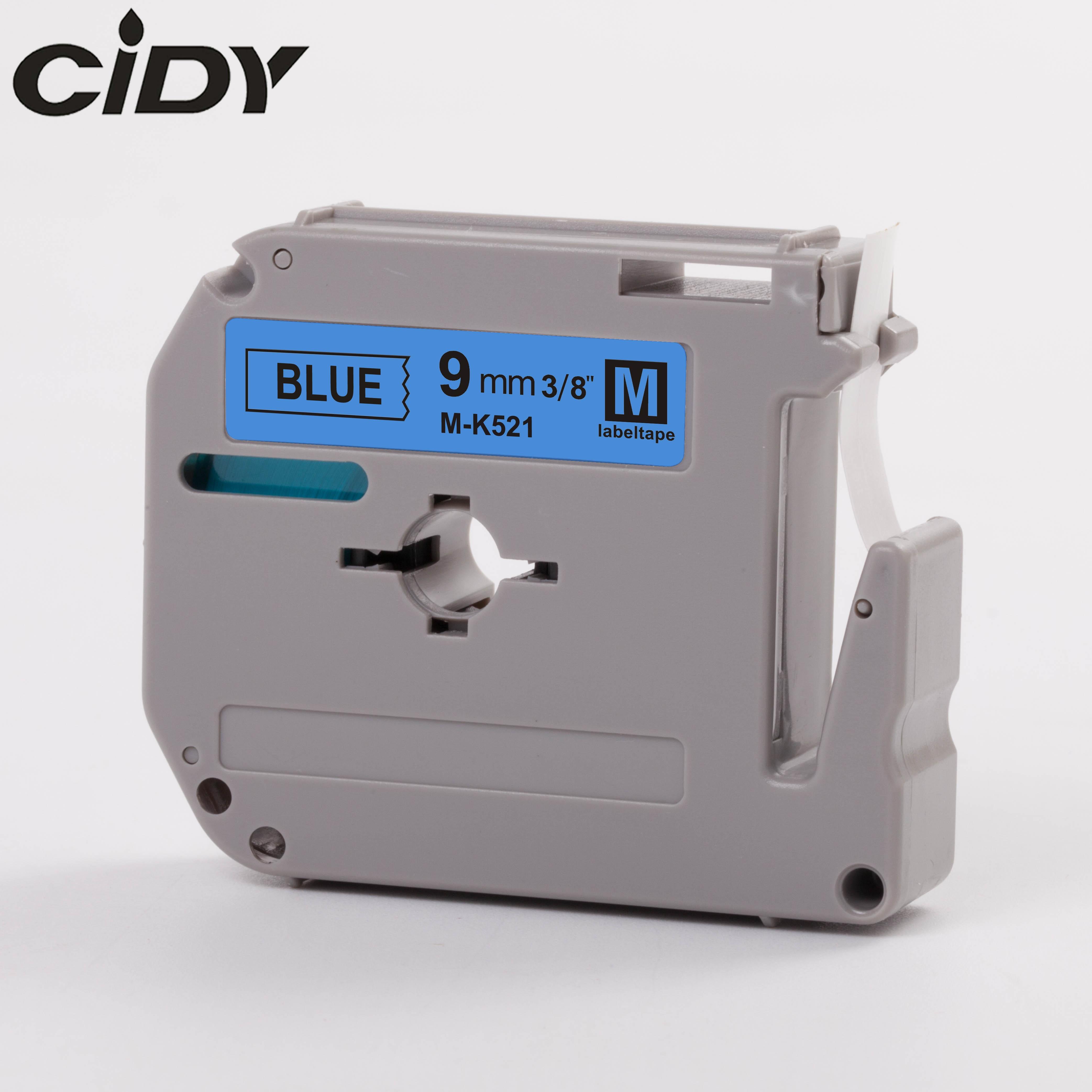CIDY Compatible brother M-K521 MK521 MK 521 MK-521 negro sobre azul 9mm laminado etiqueta adhesivo fuerte cintas para PT-80 PT-70