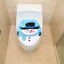 1/2PCS Christmas Santa Snowman Toilet Seat Cover Anti-Slip Bathroom Mat Toliet Rug Christmas Decoration For Home New Year Mat