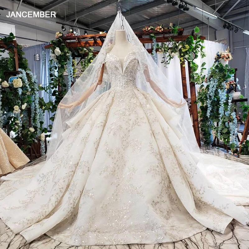 HTL734-فستان زفاف مع أكتاف عارية ، على الطراز البوهيمي ، مع انتكاسات ، قطار ، ثوب كرة ، فستان زفاف مع طرحة