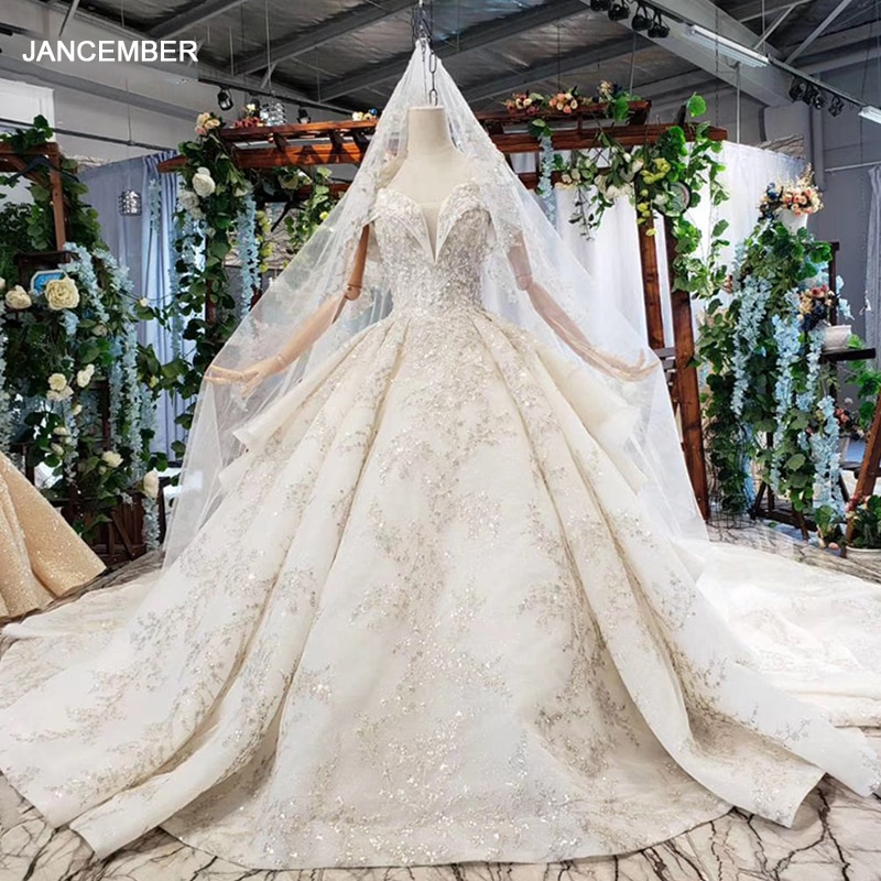 HTL734 Off-the-shoulder Wedding Dress Boho Ruffle Train Ball Gown Bridal Dress Wedding Gown With Wedding Veil Vestido De Noiva