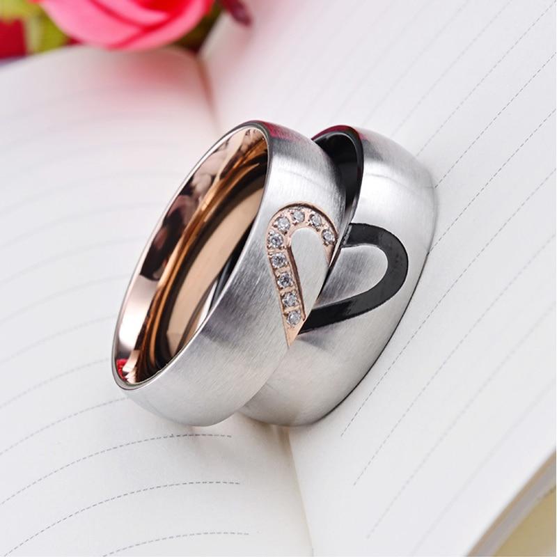 Anel de calor feminino de aço inoxidável simples rosa ouro par anel zircão preto moda presentes para mulher anel de casamento jóias por atacado