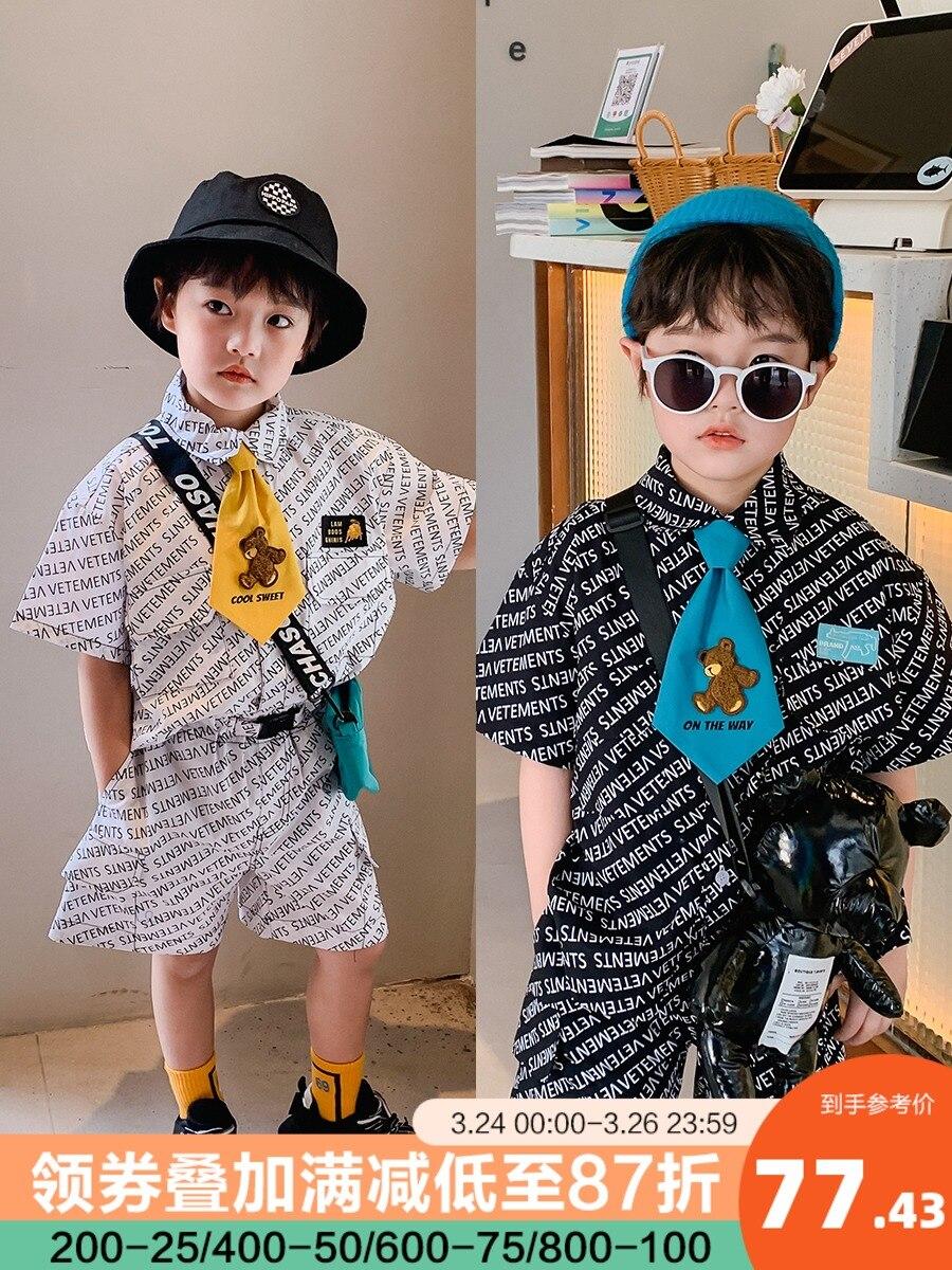 ملابس الأطفال الأولاد كاملة مطبوعة القطن الخالص قصيرة الأكمام سراويل قصيرة دعوى 2021 صيف جديد متوسطة وكبيرة الكورية الموضة