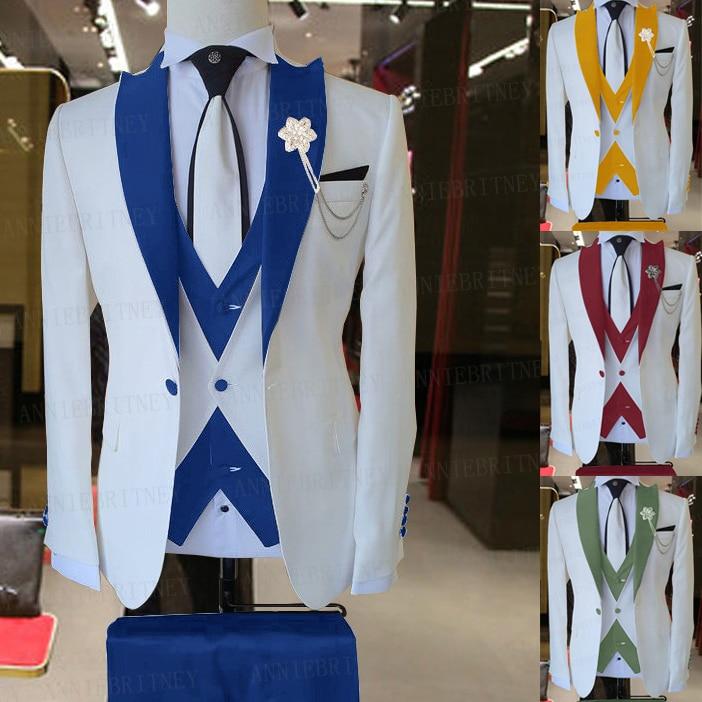 2021 бренд мужской костюм комплект из 3 предметов жениха мужской свадебный костюм набор модных дизайнах белый деловой жакет без рукавов тёмно...