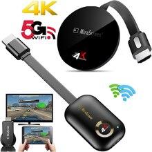 2.4G/ 5G 4K sans fil WiFi miroir câble HDMI adaptateur 1080P affichage Dongle pour iPhone Samsung Xiaomi Huawei Android téléphone à la télévision