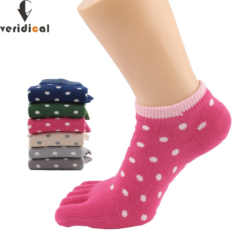 Veridical 5 pares de algodão penteado cinco dedos meias para mulher menina dot sólido bonito toe meias harajuku marca festa tornozelo tripulação meias