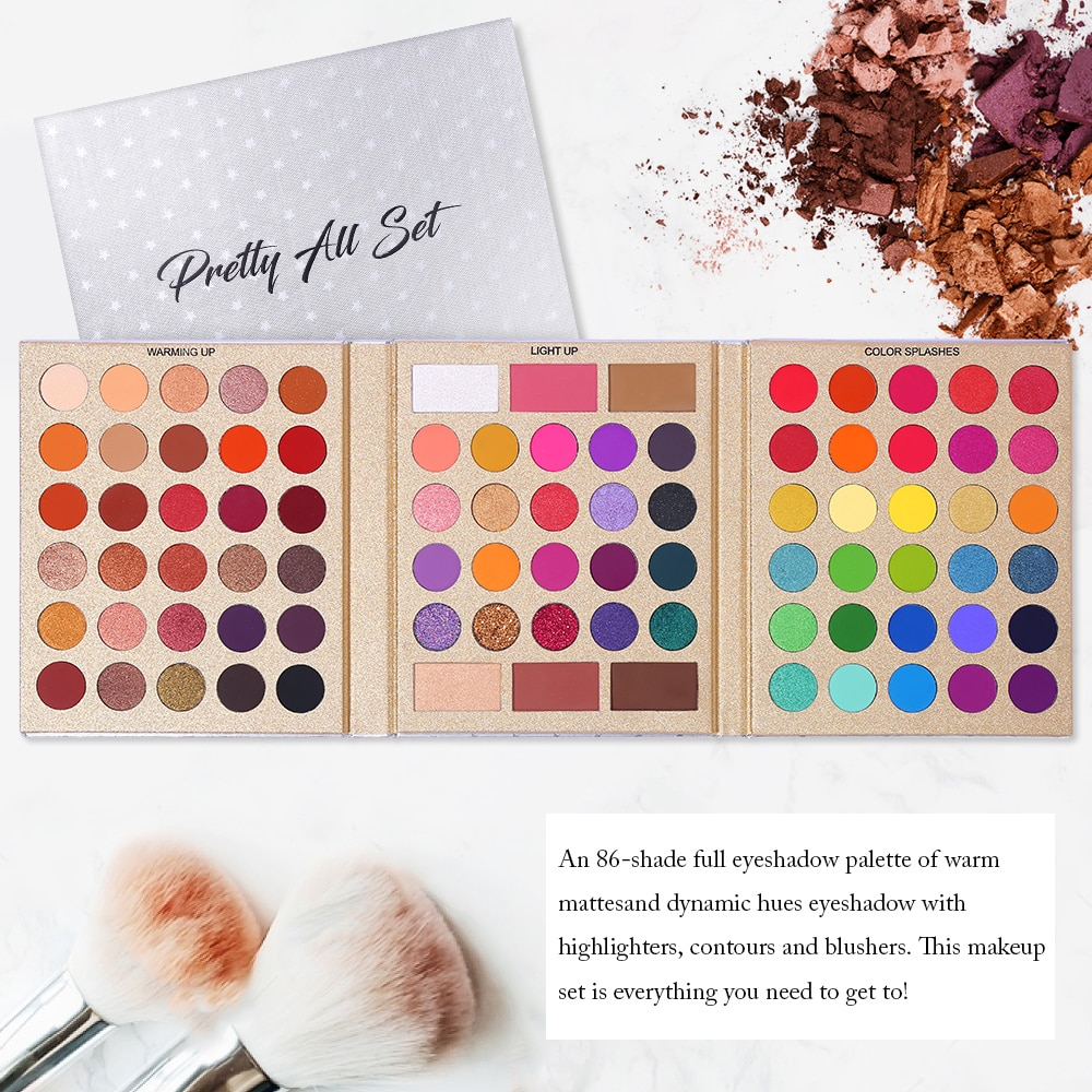 UCANBE Supersize 86 colores juego de maquillaje para sombra de ojos multiusos brillo mate neón sombra de ojos desnuda realce paleta de rubor para contornos