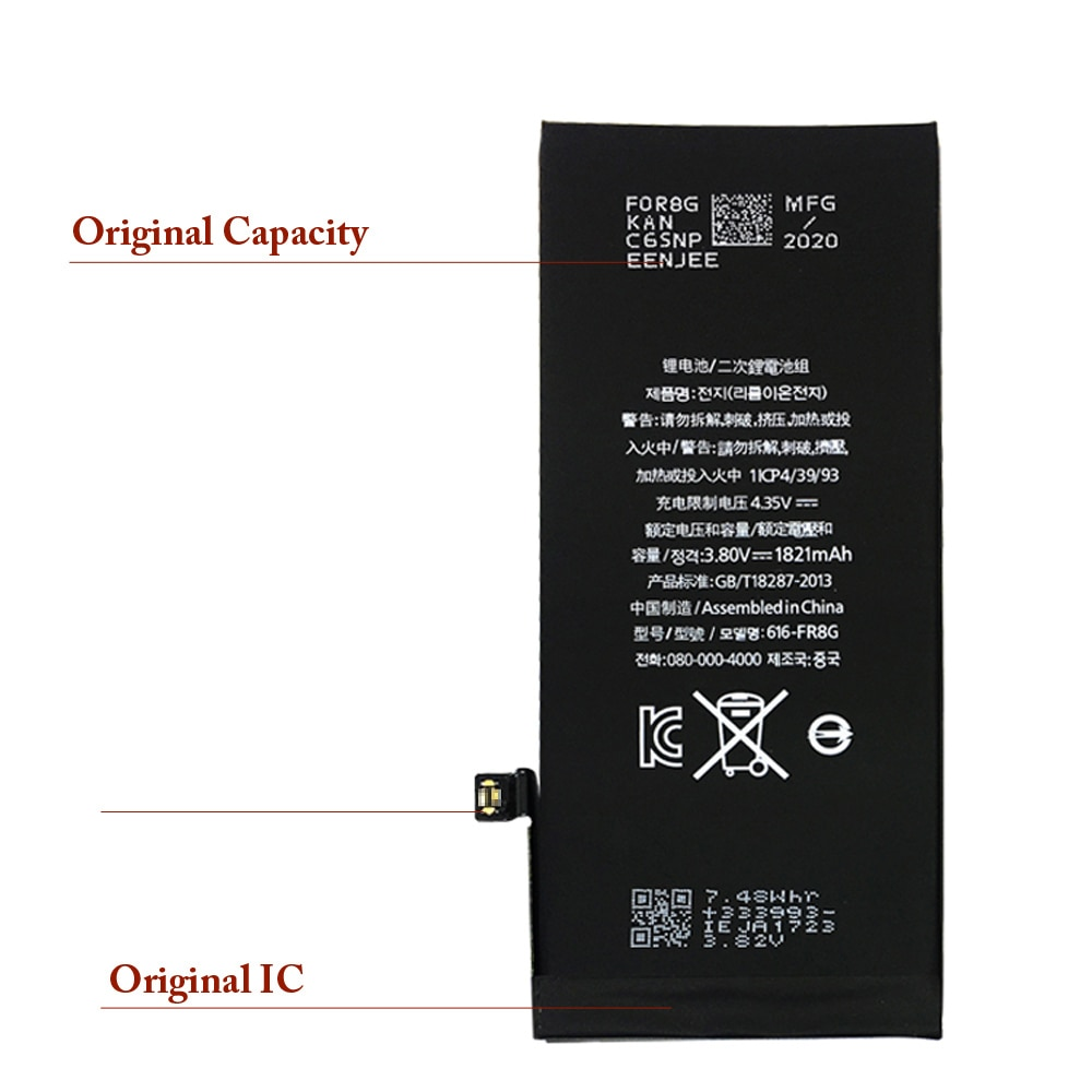 Phone Battery For Iphone 8G 10Pcs Per Lot Replacement Mobilephone High Capacity Lithium Polymer Batterie Original Cable enlarge