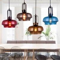 Nordic Creative LED Single Head Color Glass Pendant Lights Lighting American Retro Industry Cafe Bedroom Lamp Deco Light Fixture