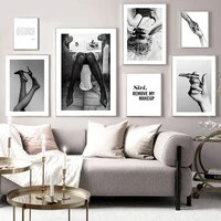 Affiche Sexy de mode pour femmes  toile imprimee en noir et blanc  peinture dart murale  image dart minimaliste  decoration moderne de chambre de fille
