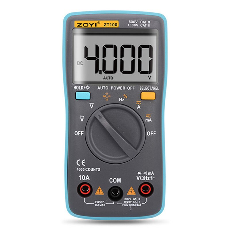 ZT100 Digital Multimeter 4000 counts Back light AC/DC Voltage Ammeter Ohm 9.999MHz Frequency Diode Mini Pocket Voltmeter