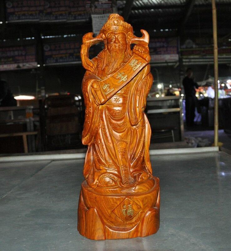 Decoración de boda templo chino de budismo madera de boj tallado estatua de Dios de la riqueza de Buda plutus