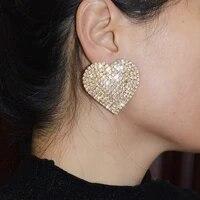 2021 fashion new rhinestone geometric earrings claw chain dinner wedding temperament popular ear jewelry accessories