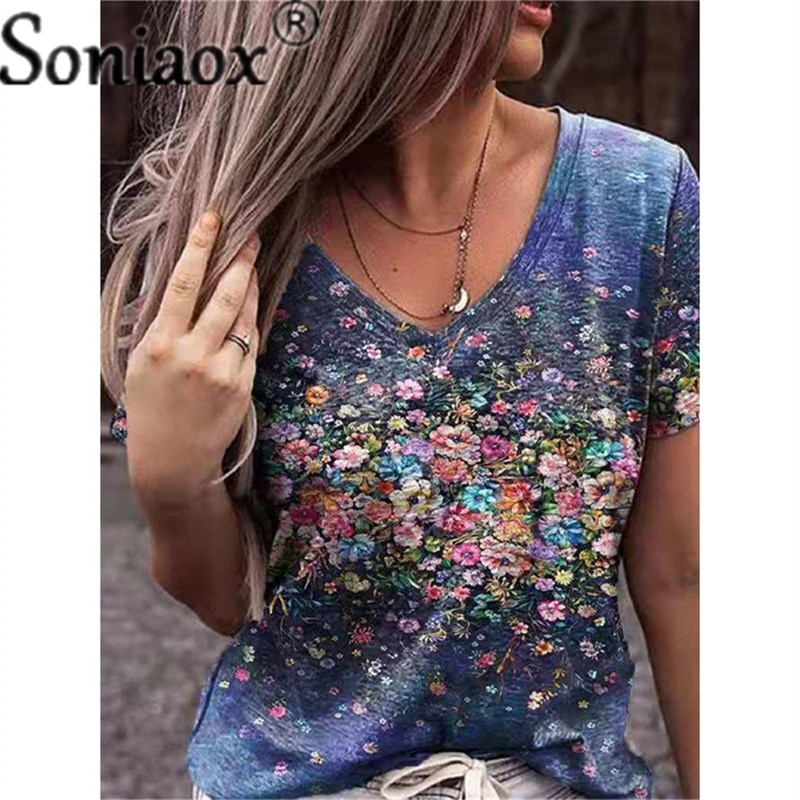 AliExpress - Summer Casual Tee Short Sleeve Women T-Shirts Flower Printed Street Tops Female V-Neck Loose T-Shirt 5XL Plus Size Top Pullover