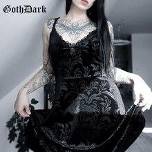 Goth foncé gothique Vintage noir e-girl robe dété pour les femmes moulante pansement col en v broderie dentelle décontracté fête Femme robes