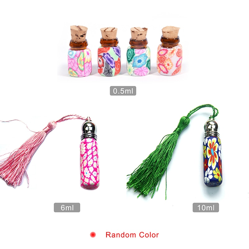 5pcs/lot 6ml 10ml Glass Perfume Roll on Bottle With Glass And Metal Ball Polymer Clay Roller Essential Oil Bottle Many Patterns