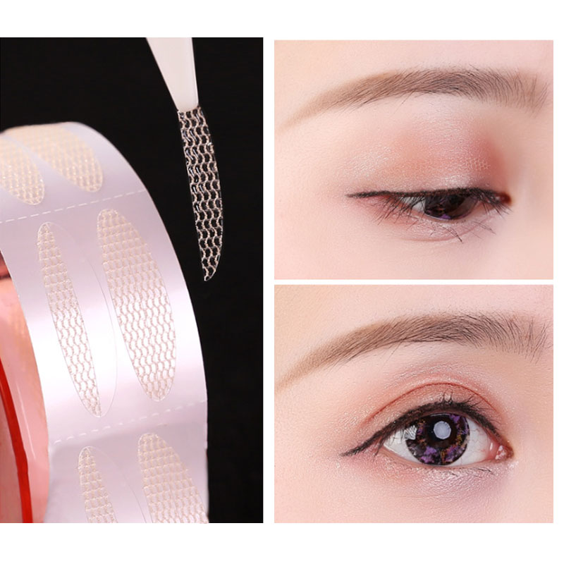 Hot Sale 1 Roll/300 Pairs Double Eyelid Sticker Adhesive Woman Makeup Tools Invisible Mesh-shaped St