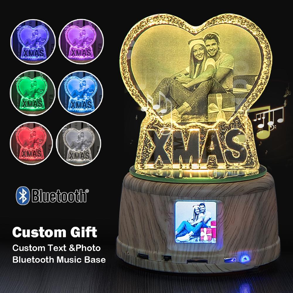 Customized Personality XMAS Crystal Night Light Desk Lamp Personalized Wooden Bluetooth Music Base Christmas Xmas Gifts