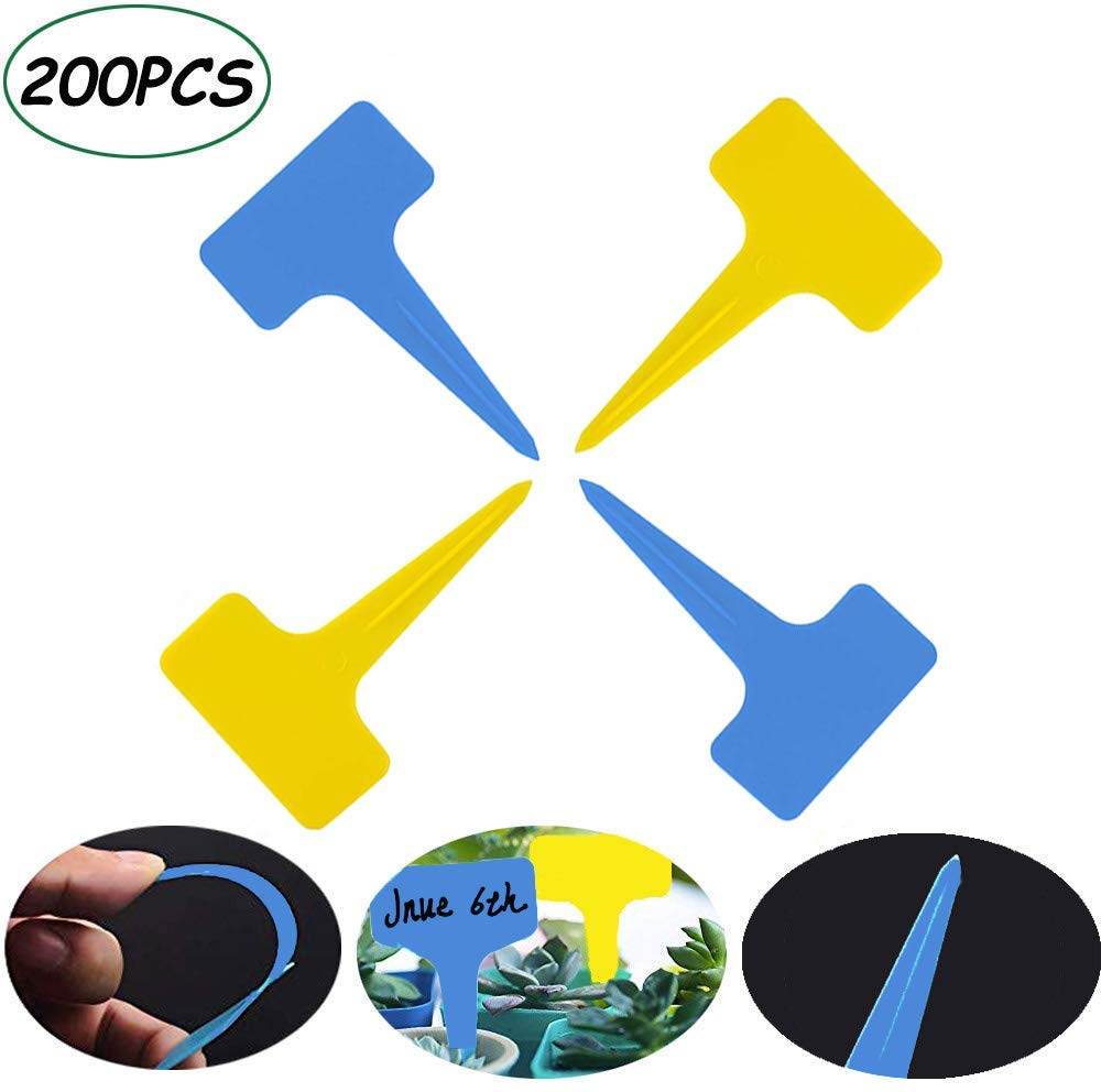 200PCS Plastic Waterproof Plant Labels T-Type Tags Markers, Eco Friendly Nursery Garden Labels Plant Stakes(Yellow+Blue)l