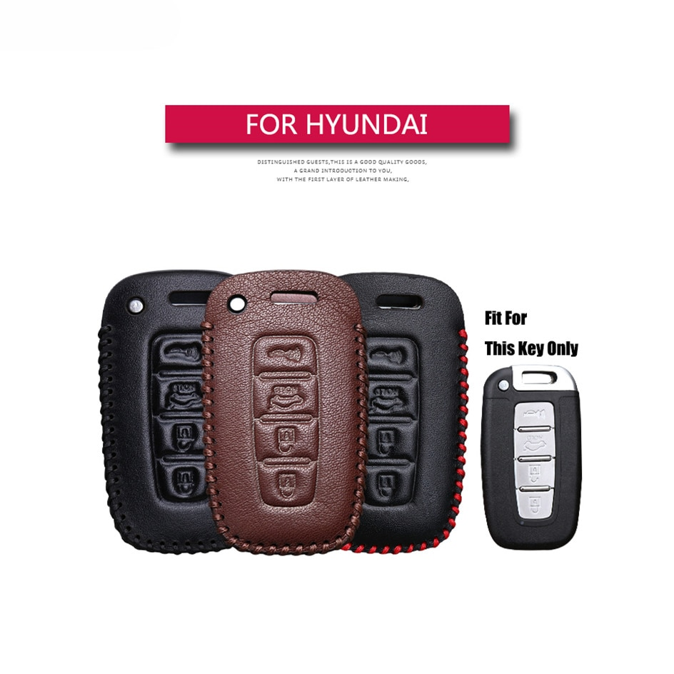 Best Sale Leather Square Smart 4 buttons Car Key Case Cover For Hyundai I30 Tucson Accent I20 Key Holder Key Parts Skin Shell