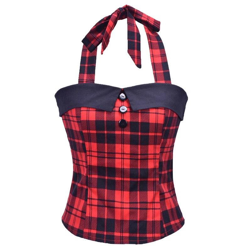 Rojo Plaid Tops Vintage ropa de verano para mujeres Retro 50s 60s Pin Up Top camisas botón Sexy blusas Halter Blusa femenina