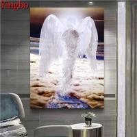 yingbo full squareround diamond painting mosaic angel wings 5d diy diamond embroidery art kits rhinestone decorations home